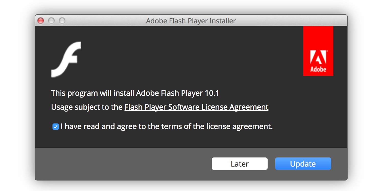 Fake Adobe Flash Player update pop-up in Safari browser on Mac computer